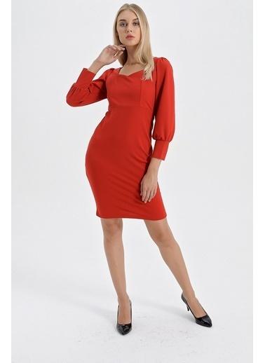 Jument Scuba Krep Beşgen Yaka Kolları Büzgülü Elbise Kırmızı